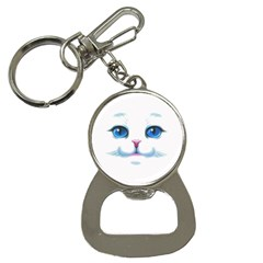 Cute White Cat Blue Eyes Face Button Necklaces by Amaryn4rt