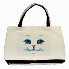 Cute White Cat Blue Eyes Face Basic Tote Bag by Amaryn4rt