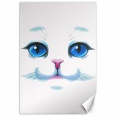 Cute White Cat Blue Eyes Face Canvas 12  X 18   by Amaryn4rt