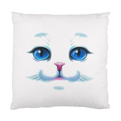 Cute White Cat Blue Eyes Face Standard Cushion Case (two Sides) by Amaryn4rt