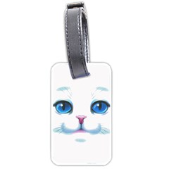 Cute White Cat Blue Eyes Face Luggage Tags (two Sides) by Amaryn4rt