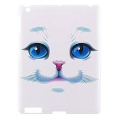 Cute White Cat Blue Eyes Face Apple Ipad 3/4 Hardshell Case by Amaryn4rt