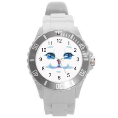 Cute White Cat Blue Eyes Face Round Plastic Sport Watch (l) by Amaryn4rt