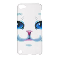 Cute White Cat Blue Eyes Face Apple iPod Touch 5 Hardshell Case by Amaryn4rt
