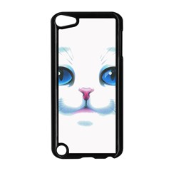 Cute White Cat Blue Eyes Face Apple Ipod Touch 5 Case (black) by Amaryn4rt