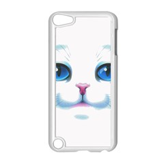 Cute White Cat Blue Eyes Face Apple Ipod Touch 5 Case (white) by Amaryn4rt