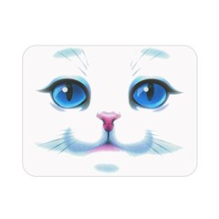 Cute White Cat Blue Eyes Face Double Sided Flano Blanket (mini)  by Amaryn4rt