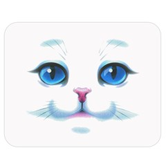 Cute White Cat Blue Eyes Face Double Sided Flano Blanket (medium)  by Amaryn4rt
