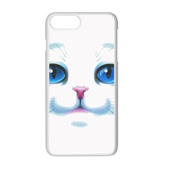 Cute White Cat Blue Eyes Face Apple Iphone 7 Plus White Seamless Case by Amaryn4rt