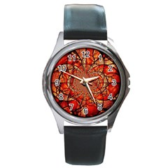 Dreamcatcher Stained Glass Round Metal Watch by Amaryn4rt