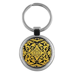 Flower Pattern In Traditional Thai Style Art Painting On Window Of The Temple Key Chains (round)  by Amaryn4rt