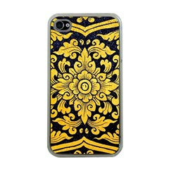 Flower Pattern In Traditional Thai Style Art Painting On Window Of The Temple Apple Iphone 4 Case (clear)