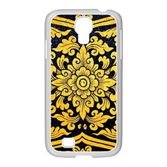 Flower Pattern In Traditional Thai Style Art Painting On Window Of The Temple Samsung Galaxy S4 I9500/ I9505 Case (white) by Amaryn4rt