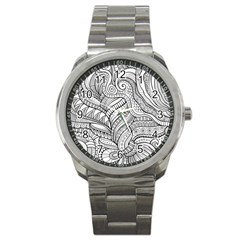 Zentangle Art Patterns Sport Metal Watch by Amaryn4rt