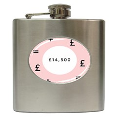 Added Less Equal With Pink White Hip Flask (6 Oz) by Alisyart