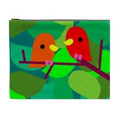 Animals Birds Red Orange Green Leaf Tree Cosmetic Bag (xl) by Alisyart