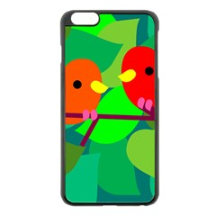 Animals Birds Red Orange Green Leaf Tree Apple Iphone 6 Plus/6s Plus Black Enamel Case by Alisyart