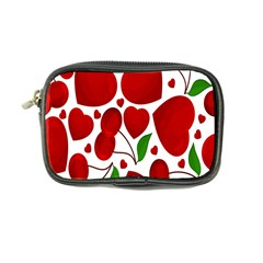 Cherry Fruit Red Love Heart Valentine Green Coin Purse by Alisyart