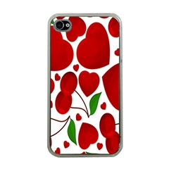 Cherry Fruit Red Love Heart Valentine Green Apple Iphone 4 Case (clear) by Alisyart