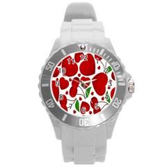 Cherry Fruit Red Love Heart Valentine Green Round Plastic Sport Watch (l) by Alisyart