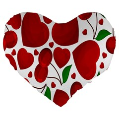 Cherry Fruit Red Love Heart Valentine Green Large 19  Premium Flano Heart Shape Cushions by Alisyart