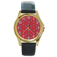Circle Red Purple Round Gold Metal Watch by Alisyart