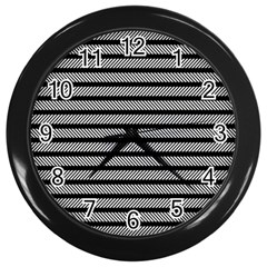 Black White Line Fabric Wall Clocks (black) by Alisyart