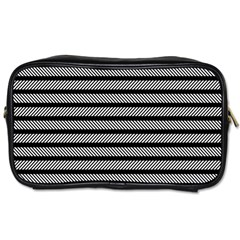 Black White Line Fabric Toiletries Bags 2 Side by Alisyart