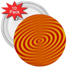 Circle Line Orange Hole Hypnotism 3  Buttons (10 Pack)  by Alisyart