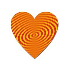 Circle Line Orange Hole Hypnotism Heart Magnet by Alisyart