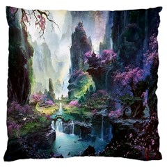 Fantastic World Fantasy Painting Large Cushion Case (two Sides) by Onesevenart