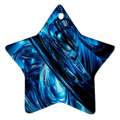 Blue Wave Star Ornament (two Sides) by Alisyart