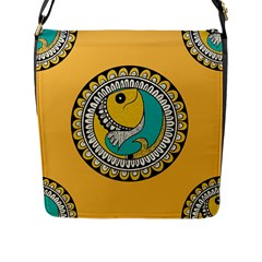 Madhubani Fish Indian Ethnic Pattern Flap Messenger Bag (l)  by Onesevenart