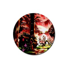Fantasy Art Story Lodge Girl Rabbits Flowers Rubber Round Coaster (4 Pack)  by Onesevenart