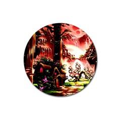 Fantasy Art Story Lodge Girl Rabbits Flowers Magnet 3  (round) by Onesevenart