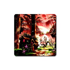 Fantasy Art Story Lodge Girl Rabbits Flowers Square Magnet by Onesevenart