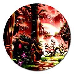 Fantasy Art Story Lodge Girl Rabbits Flowers Magnet 5  (round) by Onesevenart