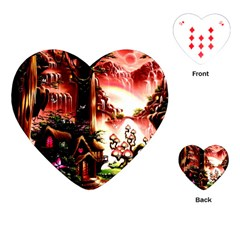 Fantasy Art Story Lodge Girl Rabbits Flowers Playing Cards (heart)  by Onesevenart