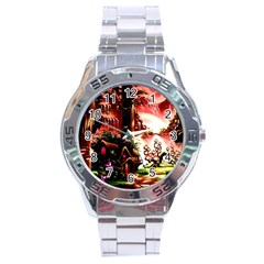 Fantasy Art Story Lodge Girl Rabbits Flowers Stainless Steel Analogue Watch by Onesevenart