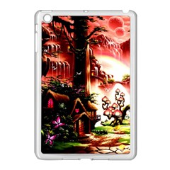 Fantasy Art Story Lodge Girl Rabbits Flowers Apple Ipad Mini Case (white) by Onesevenart