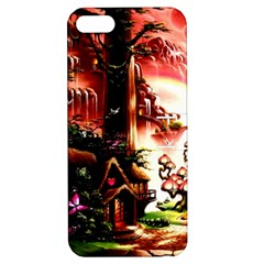Fantasy Art Story Lodge Girl Rabbits Flowers Apple Iphone 5 Hardshell Case With Stand by Onesevenart