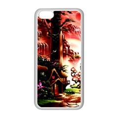 Fantasy Art Story Lodge Girl Rabbits Flowers Apple Iphone 5c Seamless Case (white) by Onesevenart