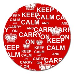 Keep Calm And Carry On Magnet 5  (round) by Onesevenart