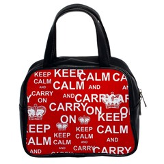 Keep Calm And Carry On Classic Handbags (2 Sides) by Onesevenart