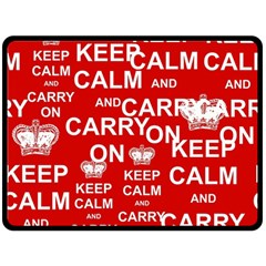 Keep Calm And Carry On Double Sided Fleece Blanket (large)  by Onesevenart