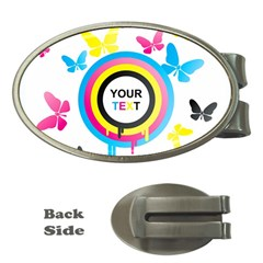Colorful Butterfly Rainbow Circle Animals Fly Pink Yellow Black Blue Text Money Clips (oval)  by Alisyart