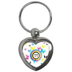 Colorful Butterfly Rainbow Circle Animals Fly Pink Yellow Black Blue Text Key Chains (heart)  by Alisyart