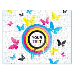 Colorful Butterfly Rainbow Circle Animals Fly Pink Yellow Black Blue Text Rectangular Jigsaw Puzzl by Alisyart