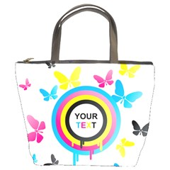 Colorful Butterfly Rainbow Circle Animals Fly Pink Yellow Black Blue Text Bucket Bags by Alisyart