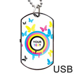 Colorful Butterfly Rainbow Circle Animals Fly Pink Yellow Black Blue Text Dog Tag Usb Flash (two Sides) by Alisyart